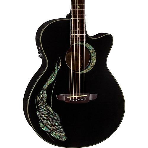 Luna Guitars Fauna Folk Acoustic-Electric Guitar Black Koi Design