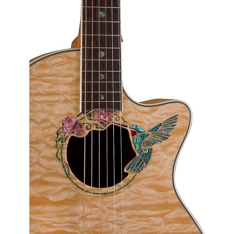 Luna Guitars Fauna Hummingbird Parlor Acoustic-Electric Guitar Quilted Maple with Clear Finish