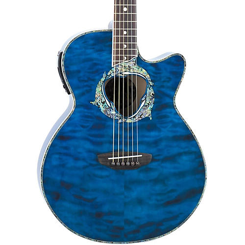 Luna Guitars Fauna Series Dolphin Folk Cutaway Acoustic-Electric Guitar Transparent Azure