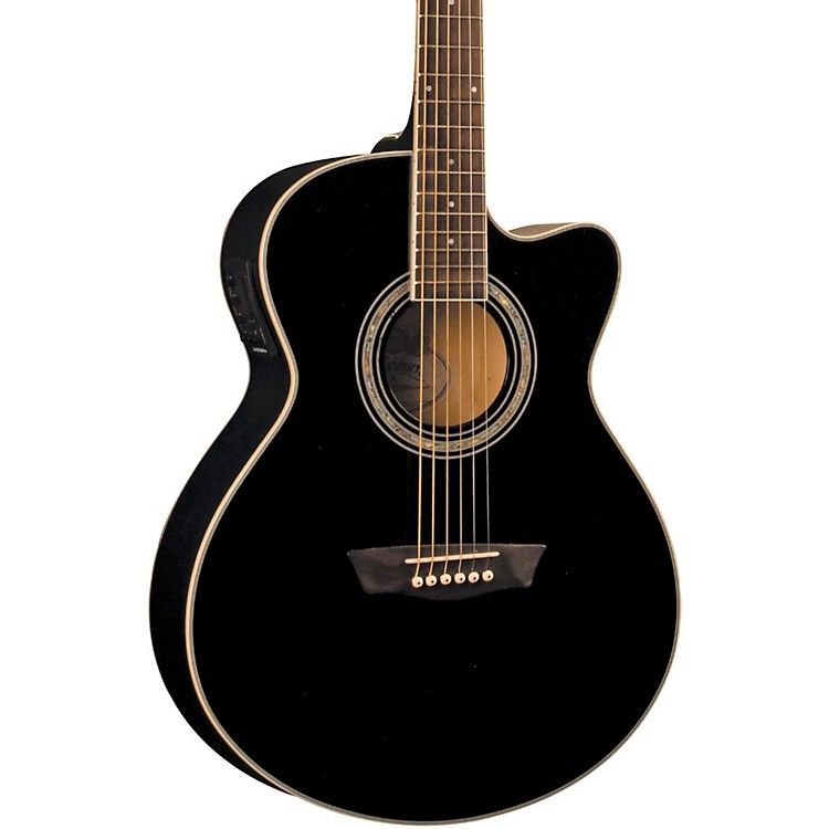 Washburn Festival EA12 Acoustic Cutaway Electric Mini Jumbo Guitar With 4-Band EQ Black