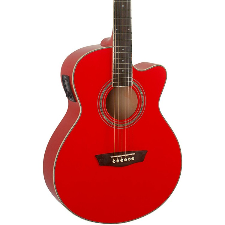 Washburn Festival EA12B Acoustic Cutaway Electric Mini Jumbo Guitar With 4-Band EQ Red