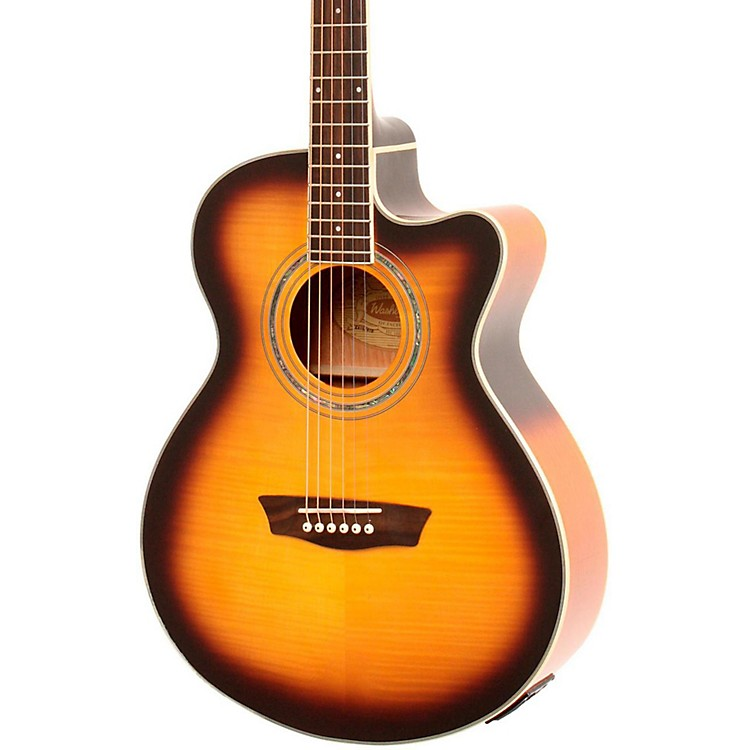 Washburn Festival EA15A Spruce Top With Flame Maple Veneer Acoustic Cutaway Electric Guitar With 4-Band EQ Tobacco Sunburst
