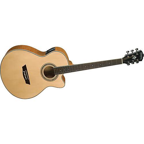 Washburn Festival EA20S Solid Sitka Spruce Top Acoustic Cutaway Electric Mini Jumbo Flame Maple Guitar with 4 Band EQ
