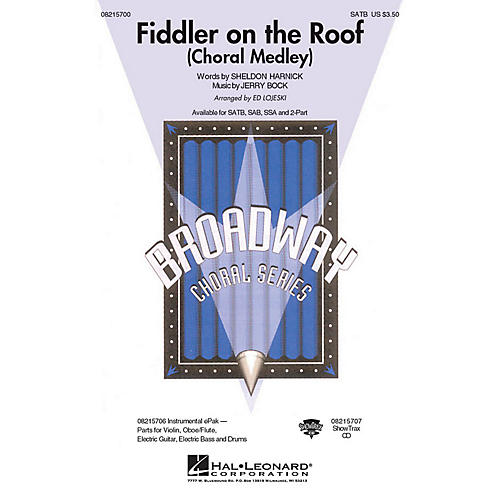Hal Leonard Fiddler on the Roof (Choral Medley) 2-Part Arranged by Ed Lojeski-thumbnail