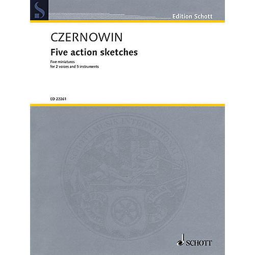 Schott Five Action Sketches (for 2 Voices and Ensemble (Score and Parts)) Ensemble Series Book-thumbnail