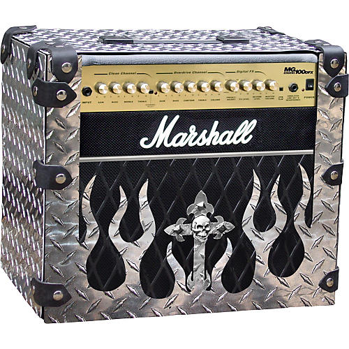 Amp Armor Flame and Skull Diamond Plate Amp Housing for Marshall MG100