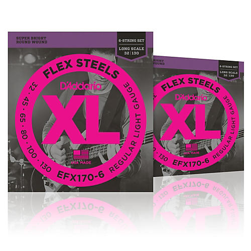 D'Addario FlexSteels Long Scale Bass Strings (32-130) 6-String - 2-Pack