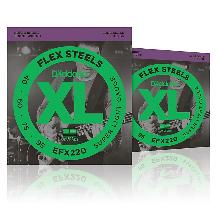 D'Addario FlexSteels Long Scale Bass Strings (40-95) - 2-Pack