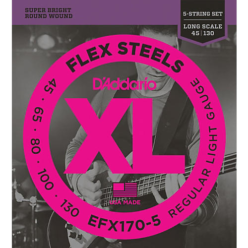 D'Addario Flexsteels Long Scale 5-String Bass Guitar Strings (45-130)