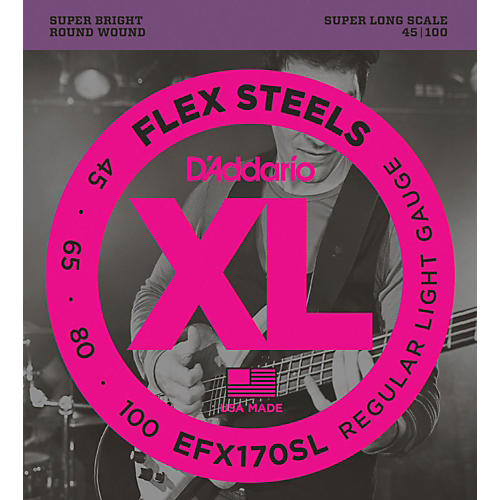 D'Addario Flexsteels Super Long Scale Bass Guitar Strings (45-100)
