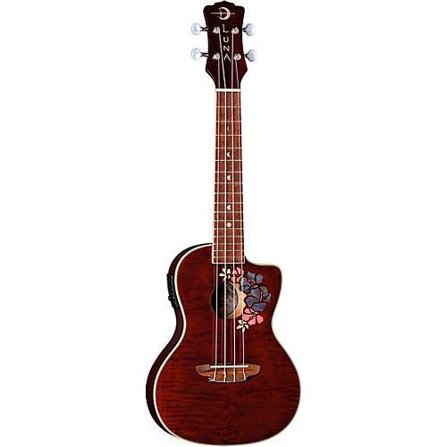Luna Guitars Flora Concert Ukulele Trans-Purple Flame Maple