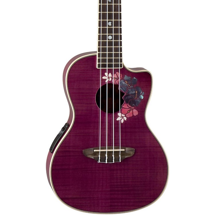 Luna Guitars Flora Concert Ukulele Trans-Purple Flame Maple