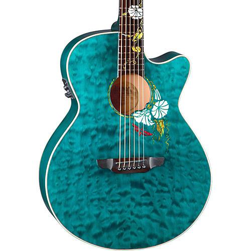 Luna Guitars Flora Series Custom Folk Acoustic-Electric Guitar Natural MoonFlower