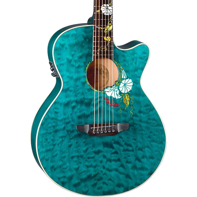 Luna GuitarsFlora Series Custom Folk Acoustic-Electric GuitarNaturalMoonFlower