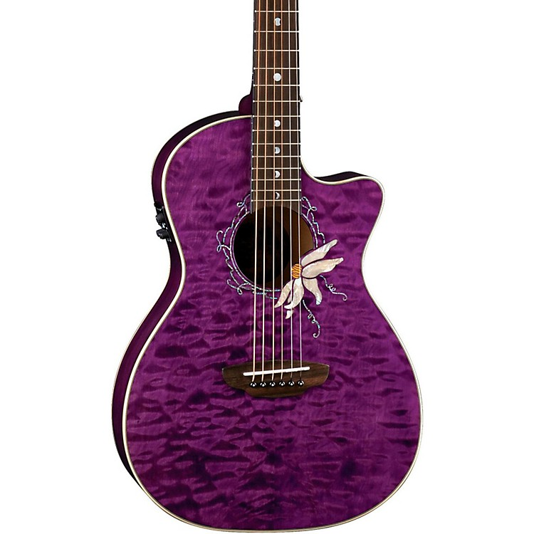 Luna Guitars Flora Series Passionflower Parlor Cutaway Acoustic-Electric Guitar Transparent Purple