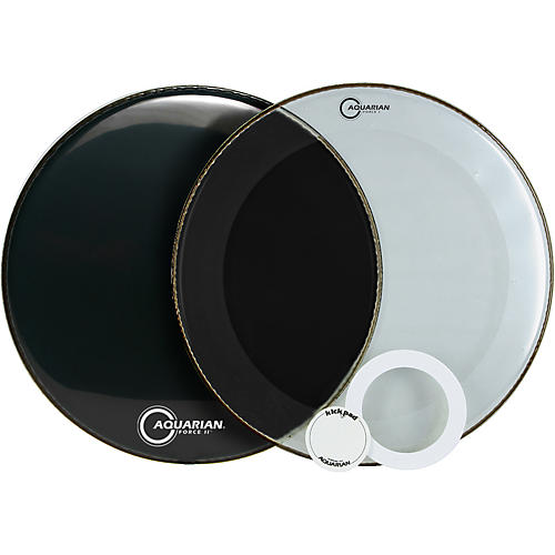 Aquarian Force Series Bass Drum Head Pak Black 20 in.