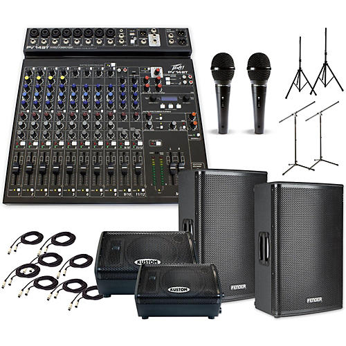 Fender Fortis F-15BT with PV14BT & KPX110PM Mains and Monitors PA System-thumbnail