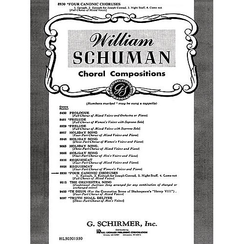G. Schirmer Four Canonic Choruses Unaccompanied A Cappella SATB composed by W Schuman