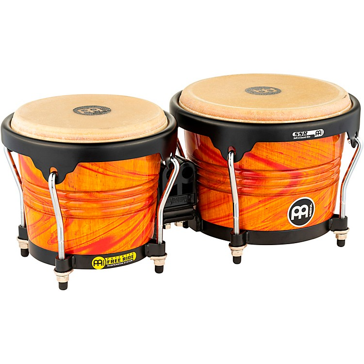 Meinl Free Ride Designer Series Wood Bongo Set AMBER FLAME 6 3/4 inch and 8 inch