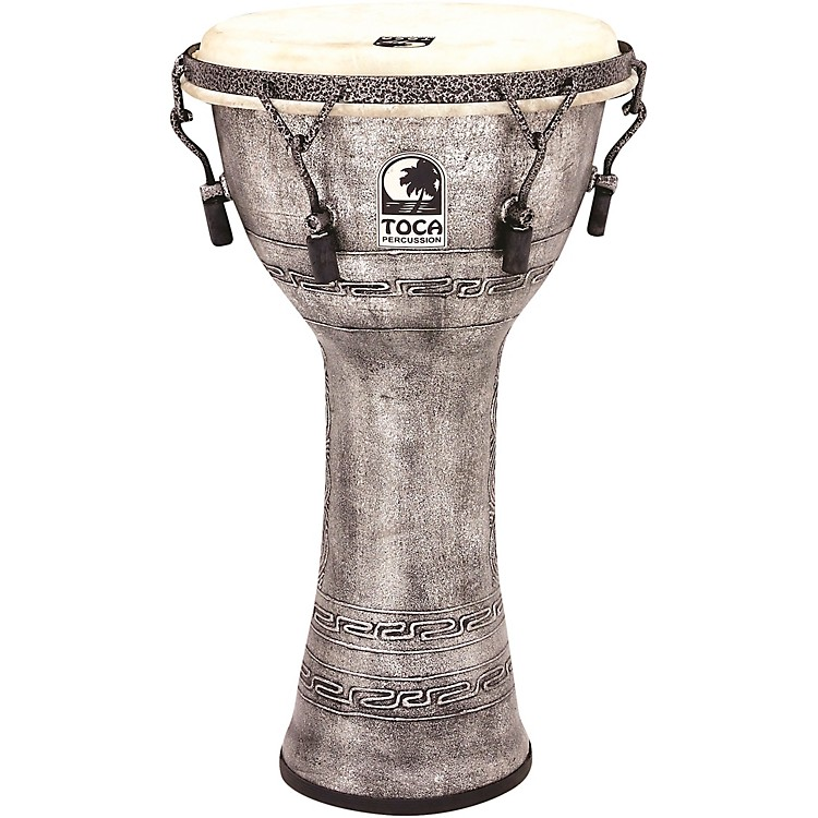 Toca Freestyle Antique-Finish Djembe 10 inch Silver