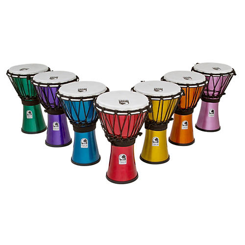 Toca Freestyle ColorSound Djembe Set of 7 Red, Orange, Yellow, Green, Blue, Indigo, and Violet 7 in.