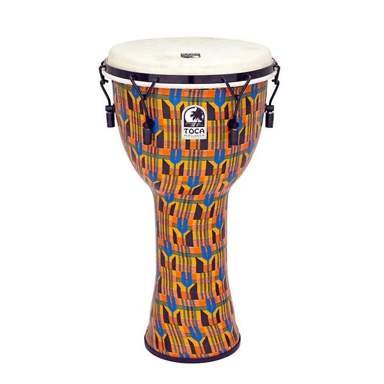 Toca Freestyle Djembe - Kente Cloth Mechanically Tuned 12 Inch