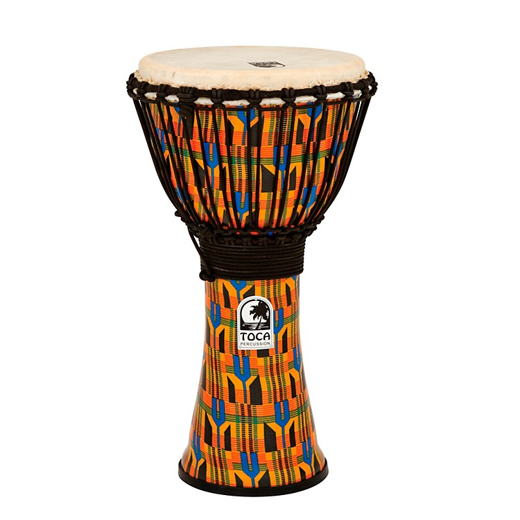 Toca Freestyle Kente Cloth Rope Tuned Djembe 12 Inch