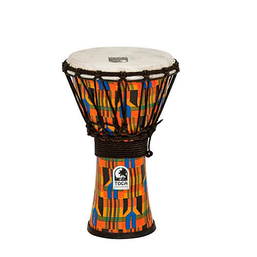 Toca Freestyle Kente Cloth Rope Tuned Djembe 7 in.
