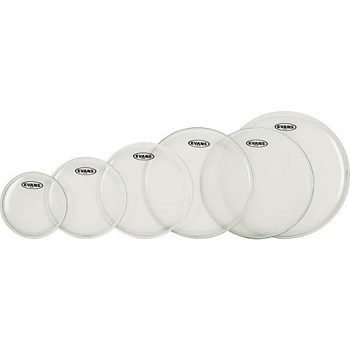 Evans G Plus Clear 5-piece Fusion Drumhead Set with Free 14