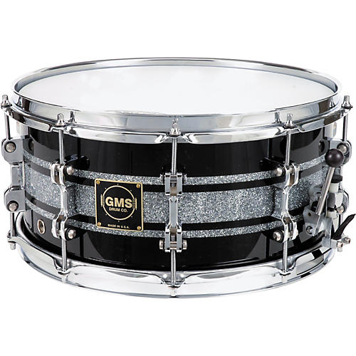 GMS G28 Acrylic Snare Drum 14 x 6.5 in. Black With Silver
