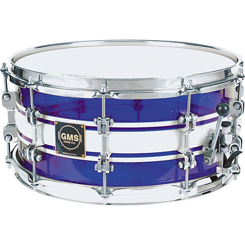 GMS G28 Acrylic Snare Drum 6.5 x 14 Dark Blue With White