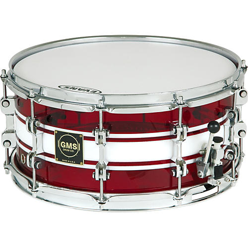 GMS G28 Acrylic Snare Drum 6.5 x 14 Ruby Red With White