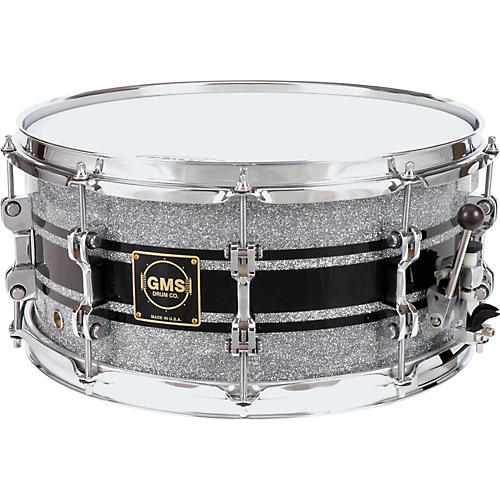 GMS G28 Acrylic Snare Drum 6.5 x 14 Silver Sparkle With Black