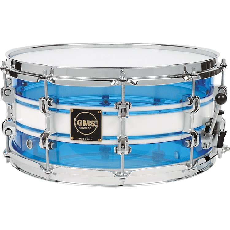 GMSG28 Acrylic Snare Drum6.5X14Light Blue With White