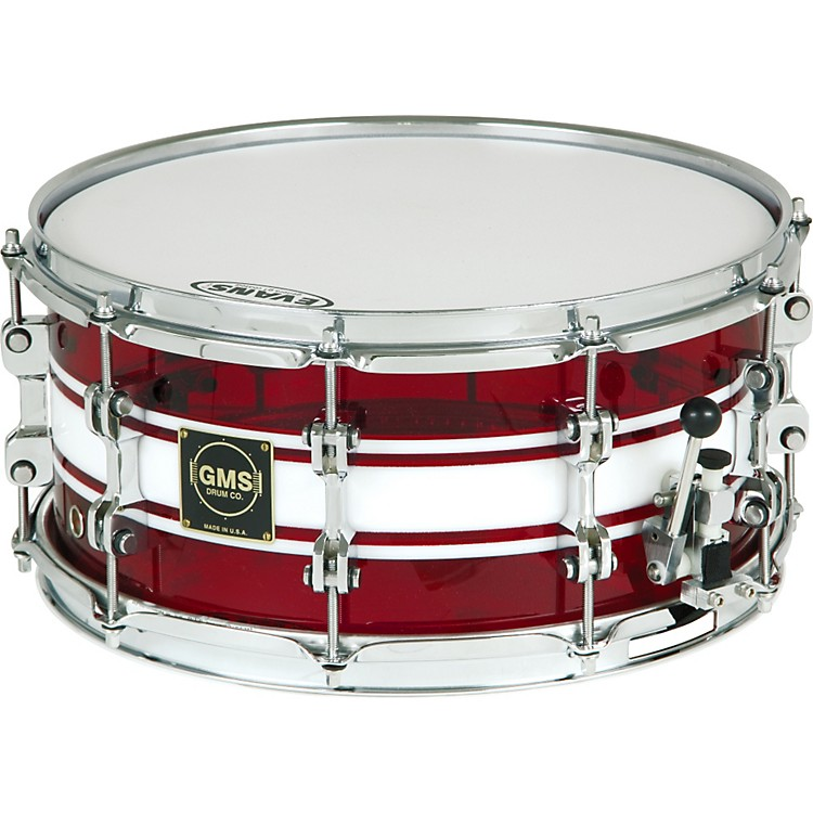 GMSG28 Acrylic Snare Drum6.5X14Ruby Red With White
