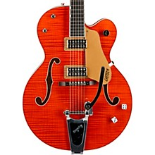 Gretsch Guitars G6120SSU Brian Setzer Nashville Hollowbody Electric Guitar Tiger Flame Orange - Lacquer