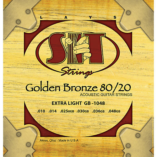 SIT Strings GB1048 Extra Light 80/20 Golden Bronze Acoustic Guitar Strings