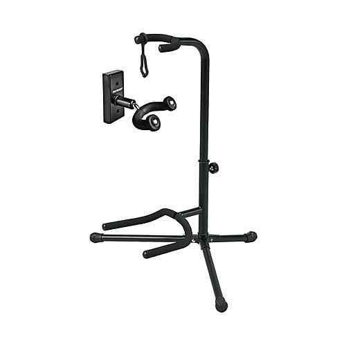 Musician's Gear GH1 Guitar Wall Hanger and SSG-303 Tubular Guitar Stand Package Black