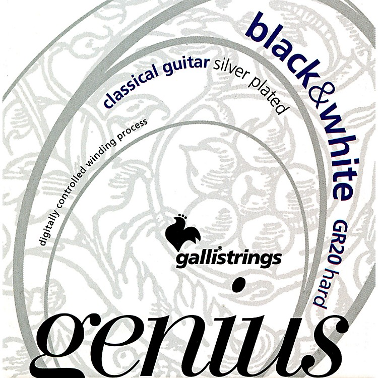 Galli Strings GR20 GENIUS Black And White Coated Silverplated Hard Tension Classical Acoustic Guitar Strings