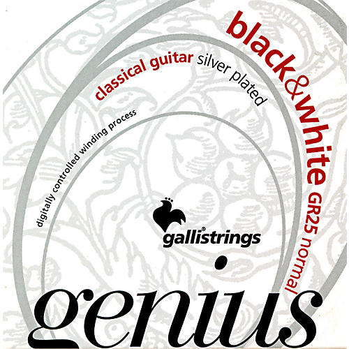 Galli Strings GR25 GENIUS Black and White Coated Silverplated Normal Tension Classical Acoustic Guitar Strings