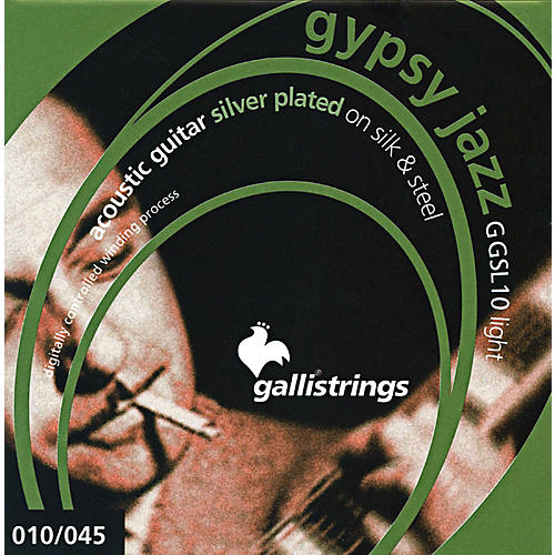 Galli Strings GSL10 GYPSY JAZZ Silver Plated Silk and Steel Light Acoustic Guitar Strings