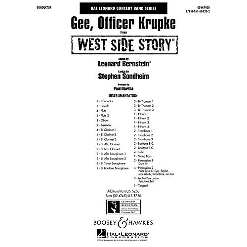 Hal Leonard Gee, Officer Krupke (from West Side Story) Concert Band Level 4 Arranged by Paul Murtha-thumbnail