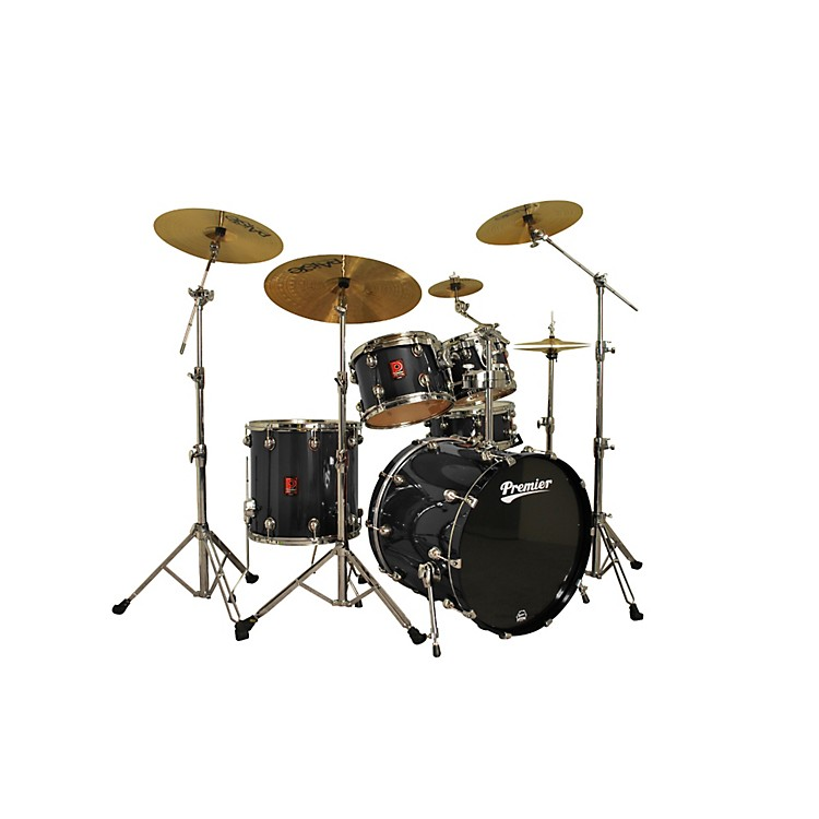 Premier Genista Maple Modern Rock 22 5-Piece Shell Pack Solid Black Lacquer