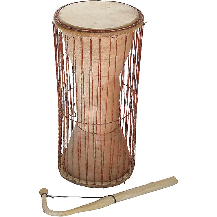 Overseas Connection Ghana Talking Drum with Stick Natural 19x8 Inch