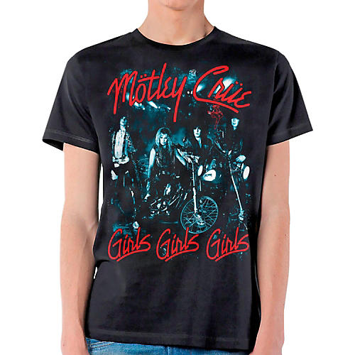 Motley Crue Girls Girls Girls T-Shirt Medium Black