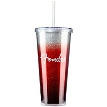 Fender Glitterburst Tumbler with Straw - Red