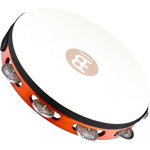 Meinl Goat-Skin Wood Tambourine One Row Aluminum Jingles African Brown