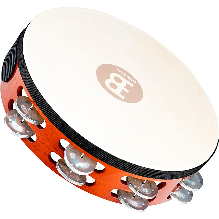 Meinl Goat-Skin Wood Tambourine Two Rows Aluminum Jingles African Brown