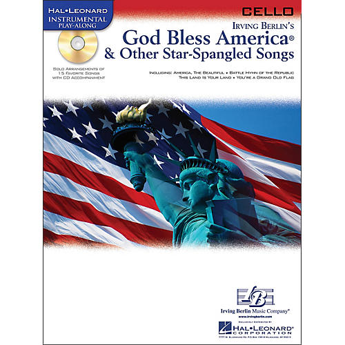 Hal Leonard God Bless America & Other Star Spangled Songs for Cello instrumental Play-Along Book/CD
