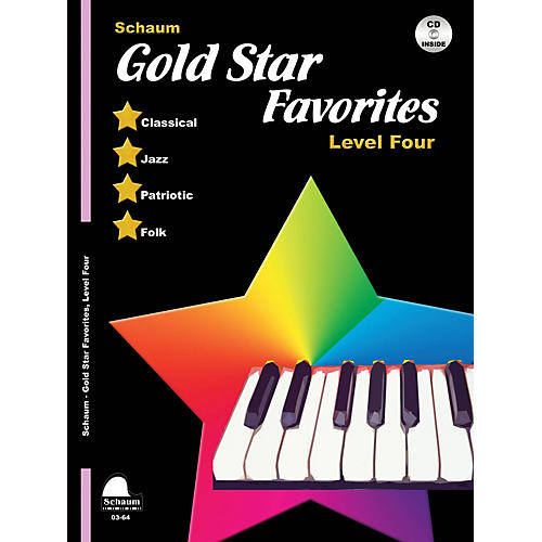 SCHAUM Gold Star Favorites (Level Four) Educational Piano Book with CD (Level Early Elem)